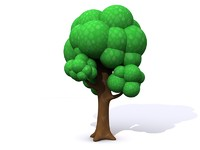 simple cartoon tree leaves 3d model