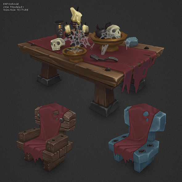 3d model hand painted dungeon entourage