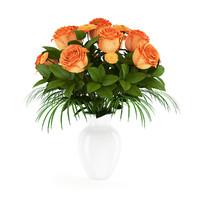 Orange Roses in White Vase