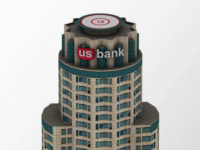 3d model of building bank tower