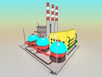 3d simple cartoon factory model
