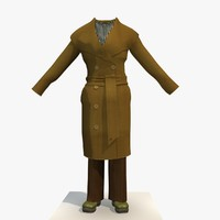3d model of womans brown winter