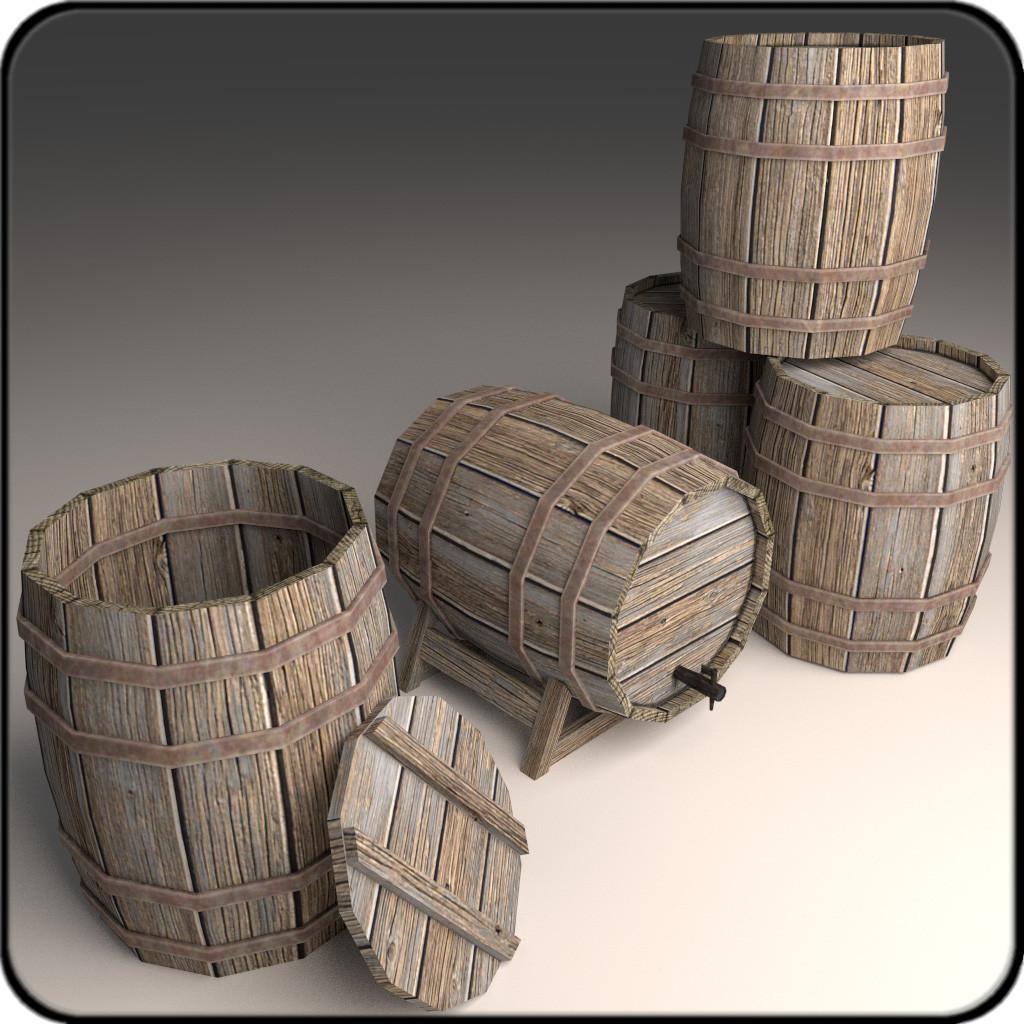 3d wooden barrels model