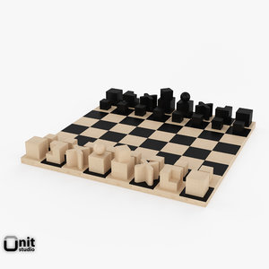 free chess bauhaus 3d model