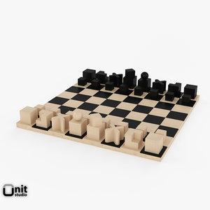 free chess bauhaus 3d model