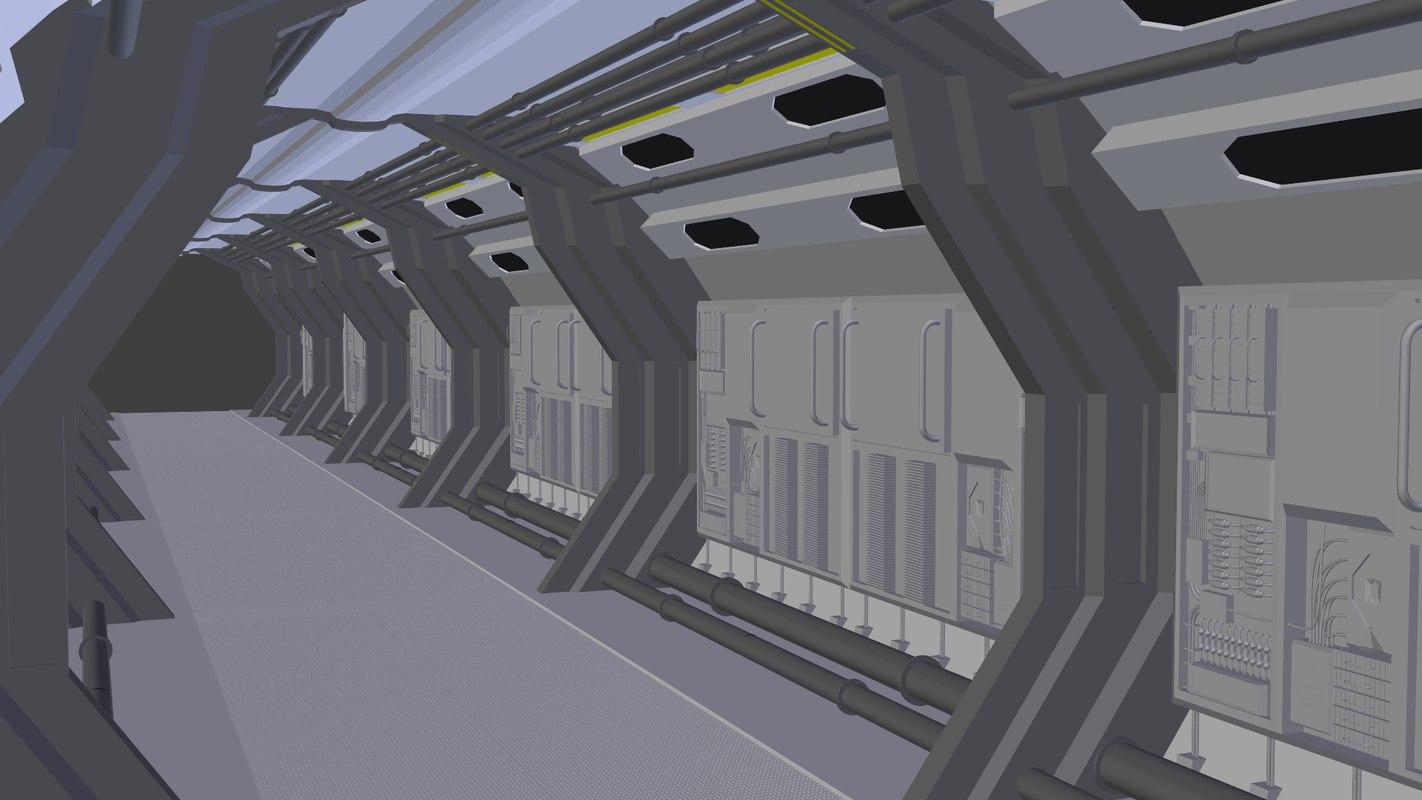 3d corridor sci-fi segment model