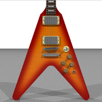 Guitar: Gibson Flying V Sunburst: C4D Format