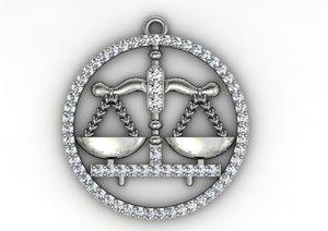 3dm libra diamond pendant