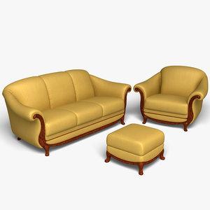 natuzzi furniture set sofa armchair 3d 3ds