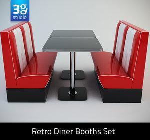3d retro diner booths set