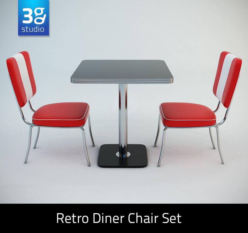 Retro Diner Chair Set 3d Model