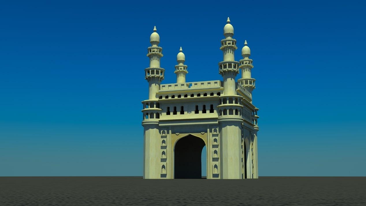 charminar india monument 3d max