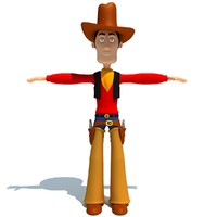 3d cartoon cowboy character rigged model