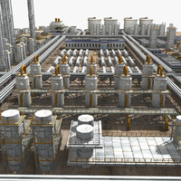 3d model chemical factory complex