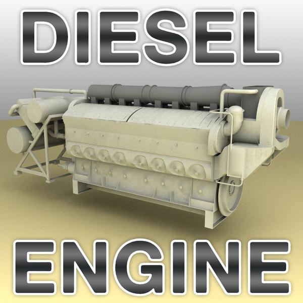 emd 710 diesel engine 3d model