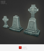 Low Poly Grave Stone 03