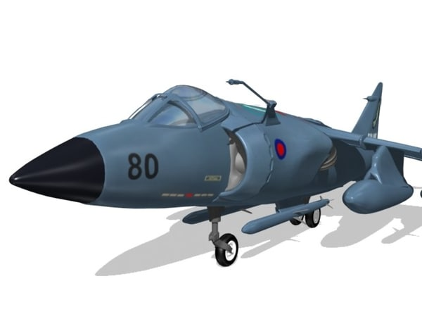 3d airplanes harrier fighter sea