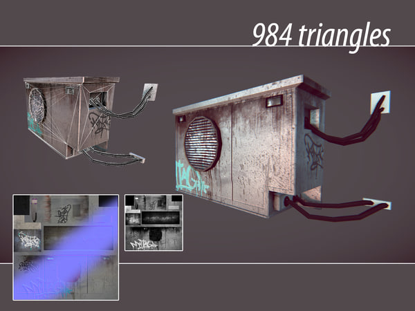 3d old air conditioner model