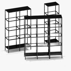 3d ikea shelving unit set