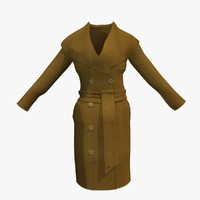 3d womans brown winter coat model