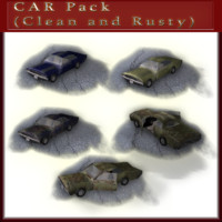 car pack clean rusty 3d obj