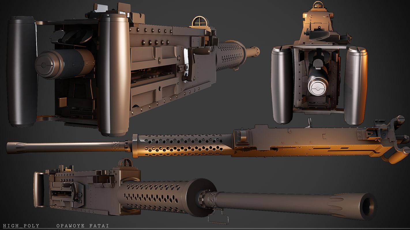 3ds max 50 cal machine gun