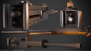 3ds max 50 cal machine gun