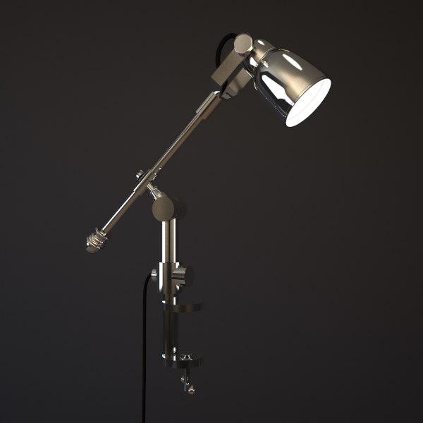 3d model chrome clamping desk lamp
