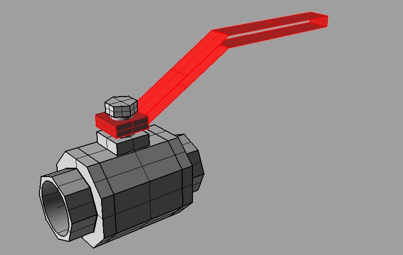 3ds max threaded ball valve