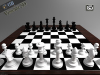 3d chessboard chess pieces model