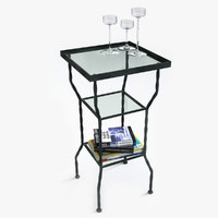 iron square table glass 3d model