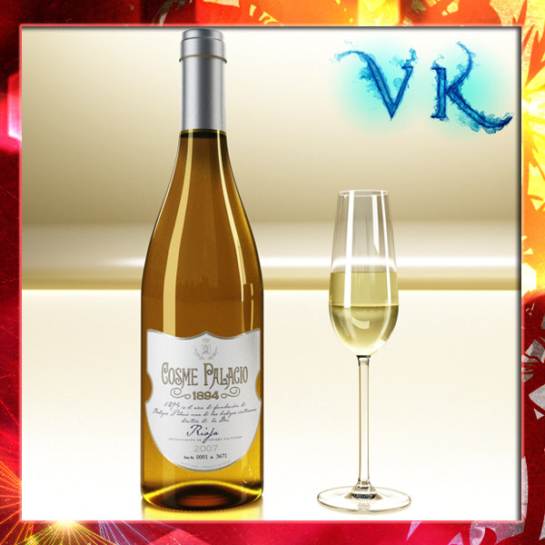 3d white wine bottle model