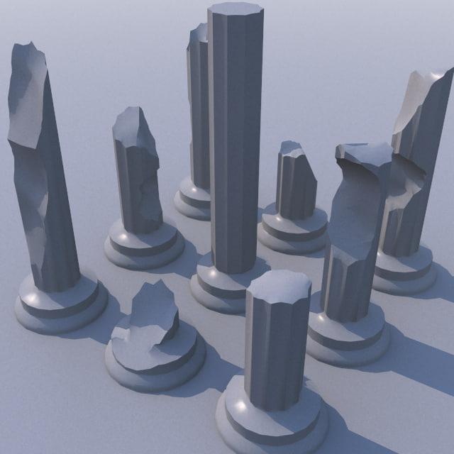 3d ruined pillar model