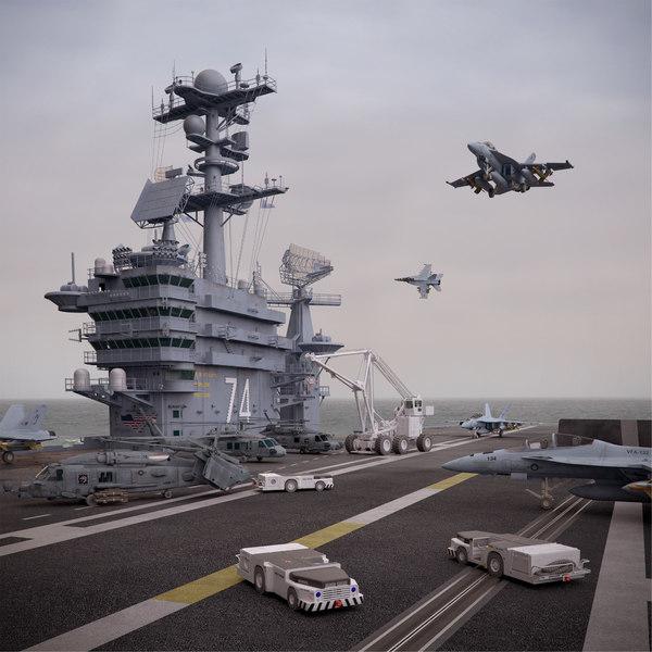 cvn 74 aircraft carrier 3d obj