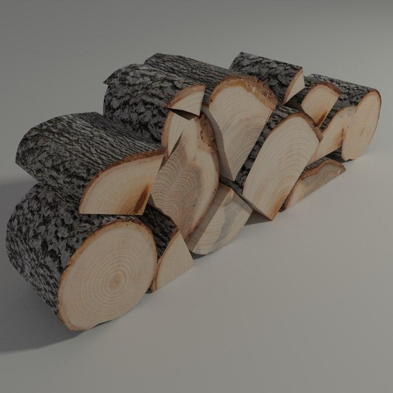 firewood modeled blender 3ds