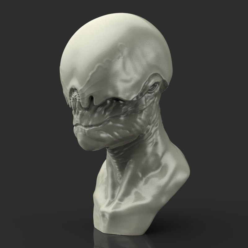 alien bust sculpture 3d model