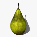 low-poly pear fruit 3d max