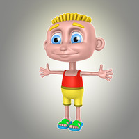 3d model cartoon boy summer