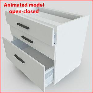 kitchen furnitures 90 cm 3d 3ds