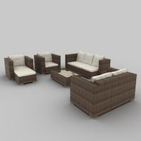 rattan seat set 09 3d model
