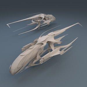 3d model alien battleship