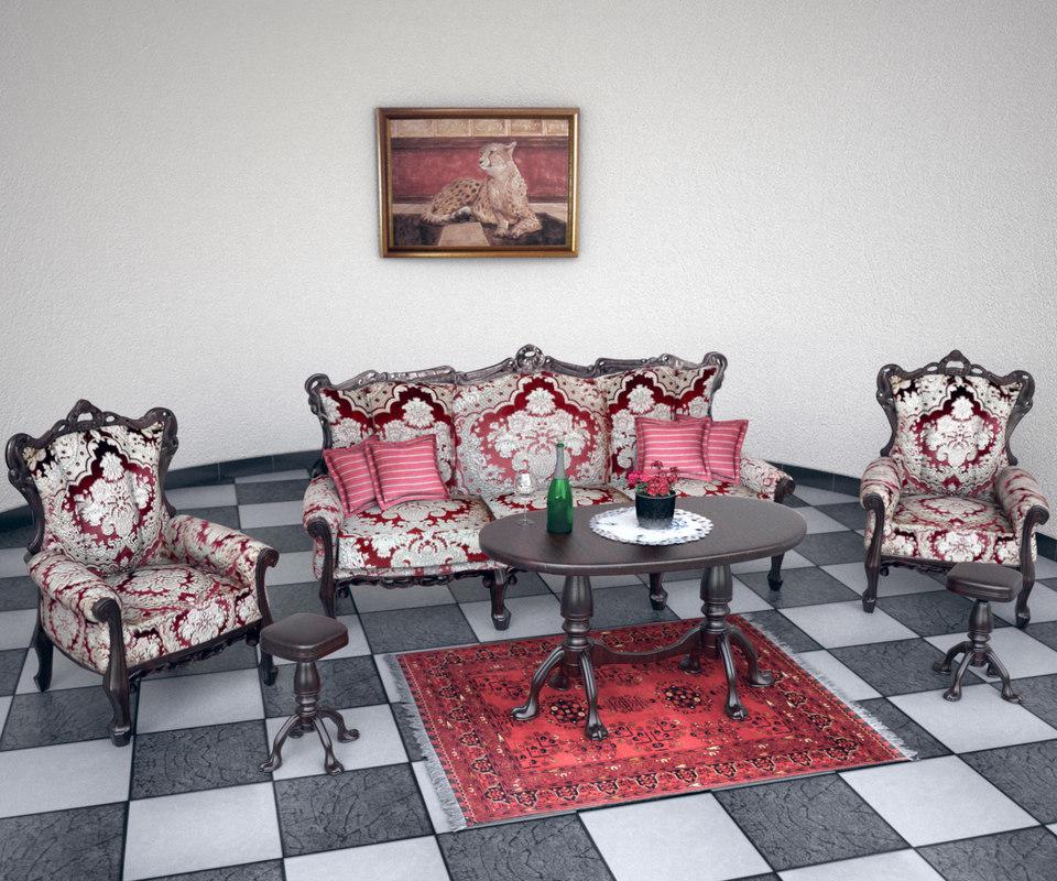 antique sofa set 3d model