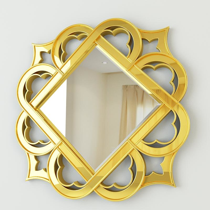 golden decorative mirror 3ds