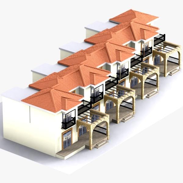 3d model adjacent houses