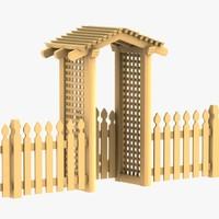 3d model wooden entrance