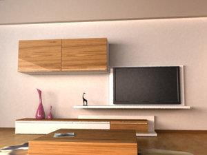 3d wardrobe tv console model