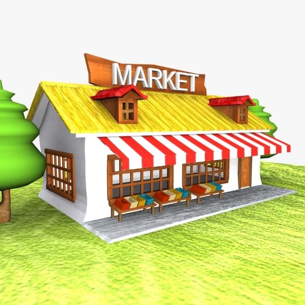 cartoon market toon 3d model