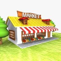 cartoon market toon 3d model