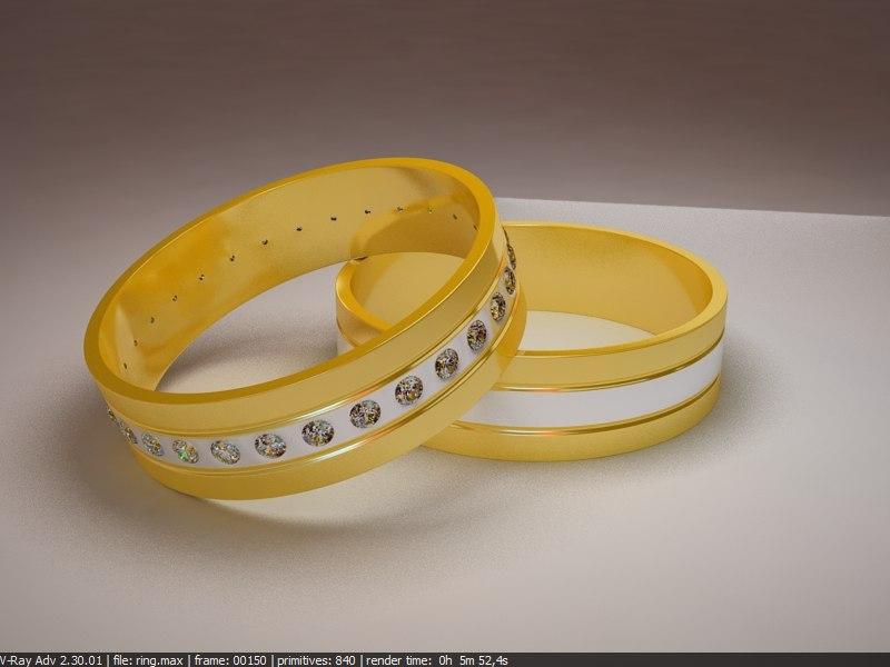 diamonds rings 3d max
