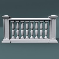 3d model of balustrade architectural
